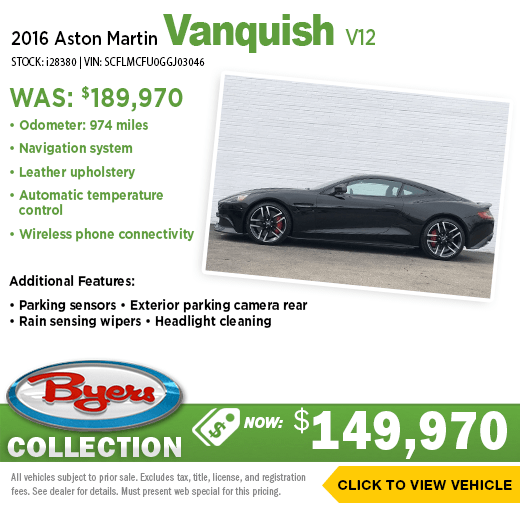 2016 Aston Martin Vanquish V12 Pre-Owned Special at Byers Imports in Columbus, OH
