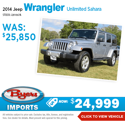 2014 Jeep Wrangler Unlimited Sahara Pre-Owned Special at Byers Imports in Columbus, OH