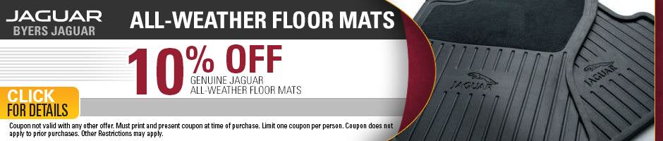 Click to view our Jaguar all-weather floor mat parts special in Columbus, OH