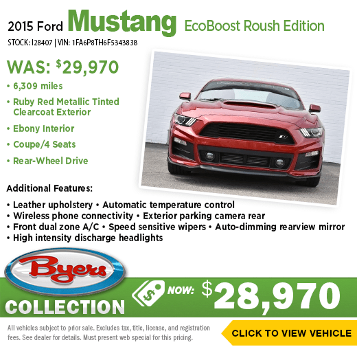 2015 Ford Mustang EcoBoost Roush Edition Pre-Owned Special at Byers Collection in Columbus, OH