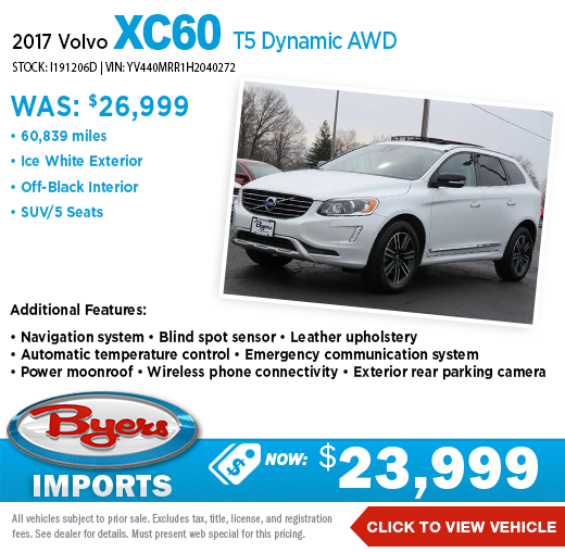 2017 Volvo X60 T5 Dynamic AWD Pre-Owned Special at Byers Imports in Columbus, OH