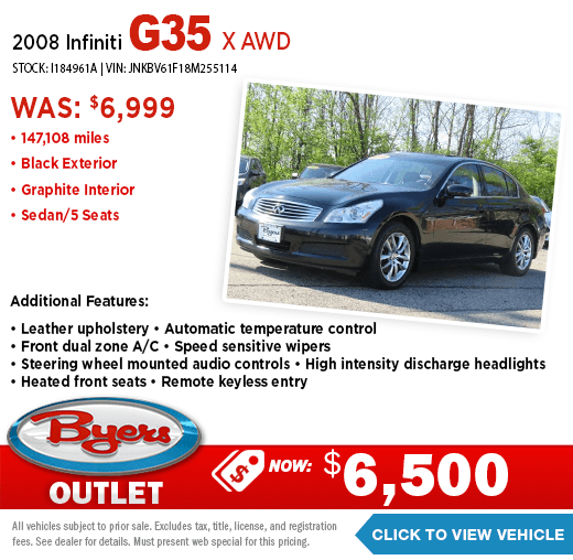 2008 Infiniti G35 X AWD Pre-Owned Special at Byers Outlet in Columbus, OH