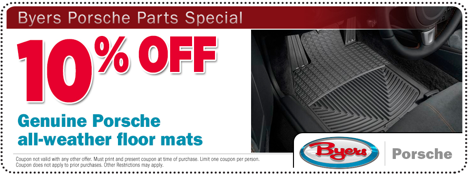 Click to print this Porsche All Weather Floor Mats Parts Special from Byers Porsche