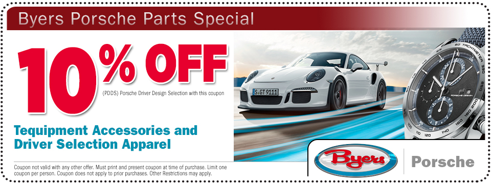 Click to print this Porsche Tequipment and Apparel Parts Special from Byers Porsche