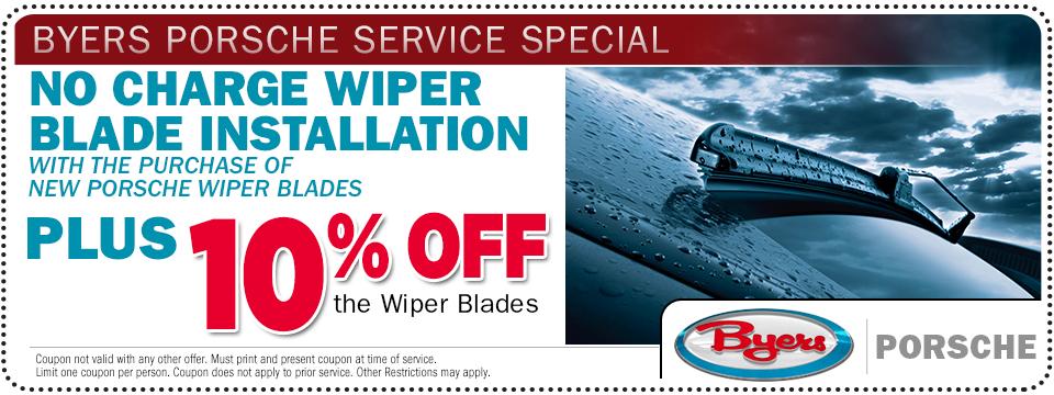 Porsche wiper blade installation service special offer at Byers Porsche