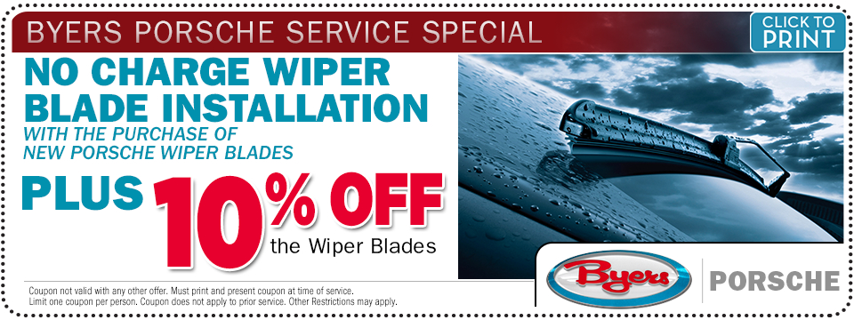 Porsche wiper blade installation service special offer at Byers Porsche