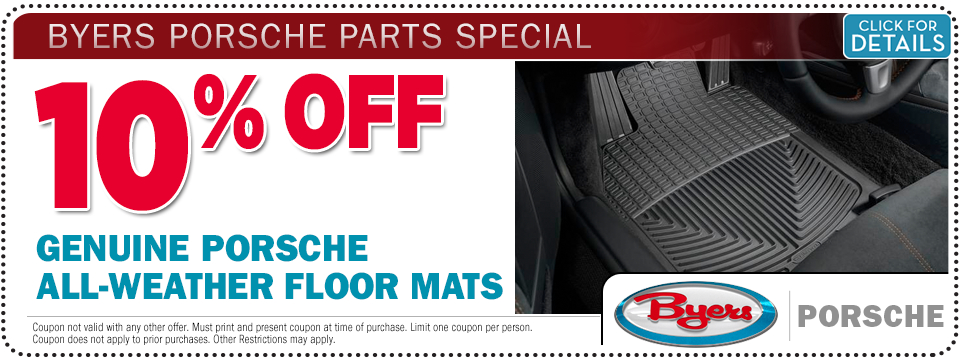 Click to see details about this Porsche All Weather Floor Mats Parts Special from Byers Porsche