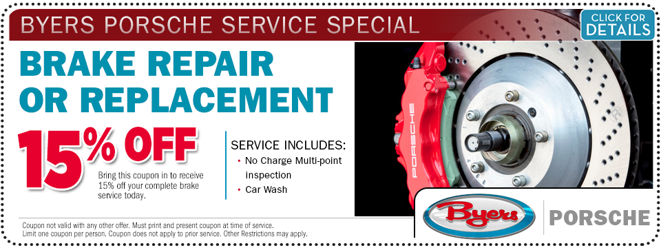 Click for more details about this Porsche brake replacement service special offer at Byers Porsche