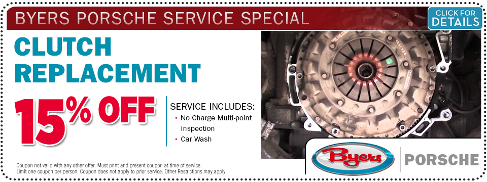 Click for more details about this Porsche clutch replacement service special offer at Byers Porsche