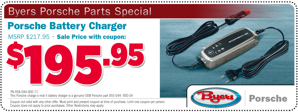 Click to print this Porsche battery charger parts special offer at Byers Porsche