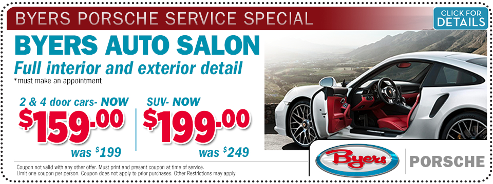 Porsche interior and exterior detail service special offer at Byers Porsche