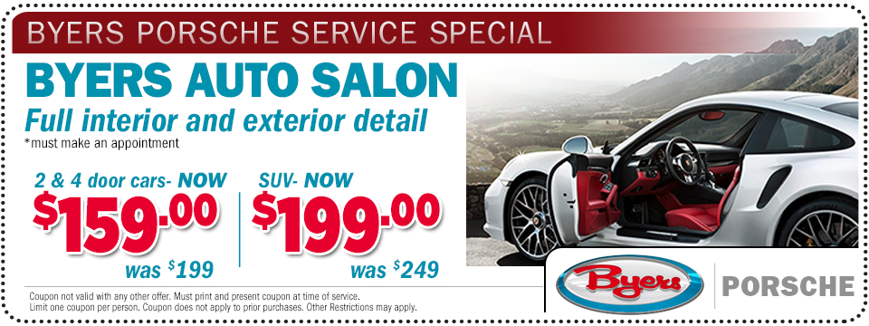Click to print this Porsche interior & Exterior full vehicle detail service special offer at Byers Porsche