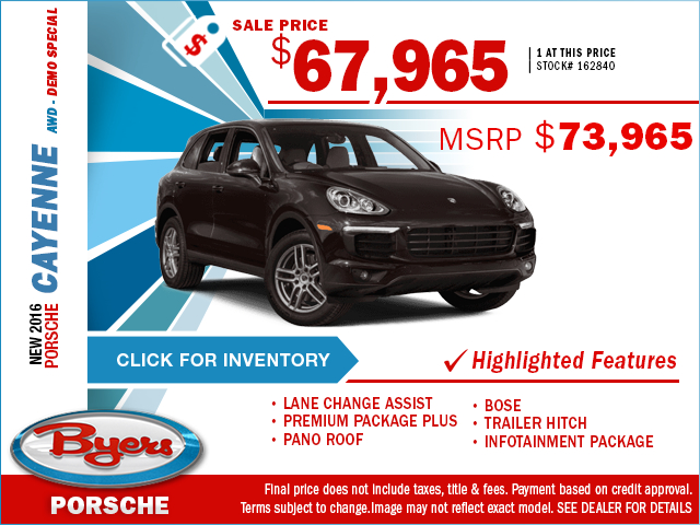 Save On This New 2016 Porsche Cayenne With This Special Purchase Offer. Click to View In Inventory