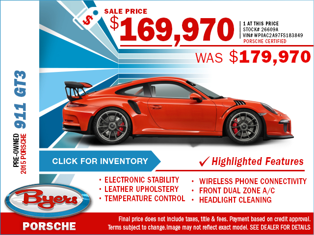 Save On This Preowned 2015 Porsche 911 GT3 With This Special Purchase Offer. Click to View In Inventory