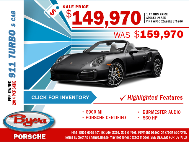 2014 Porsche 911 Turbo S Cab Pre-Owned Special in Columbus, OH