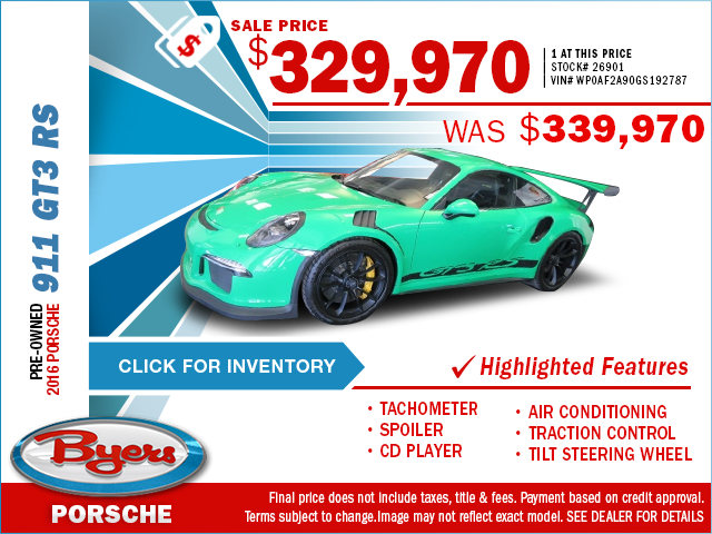 Save On This Preowned 2016 911 GT3 RS With This Special Purchase Offer. Click to View In Inventory