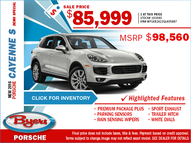 2016 Porsche Cayenne S Demo Purchase Special in Columbus, OH