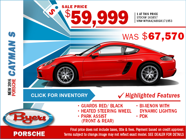 2016 Porsche Cayman S Purchase Special in Columbus, OH