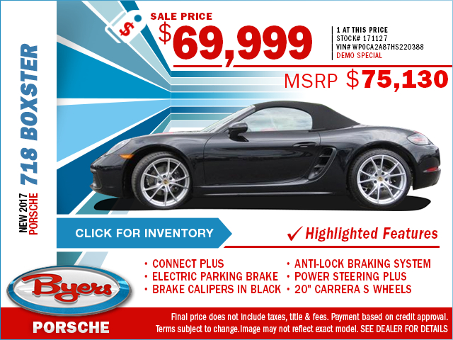 2017 Porsche 718 Boxster Purchase Special in Columbus, OH
