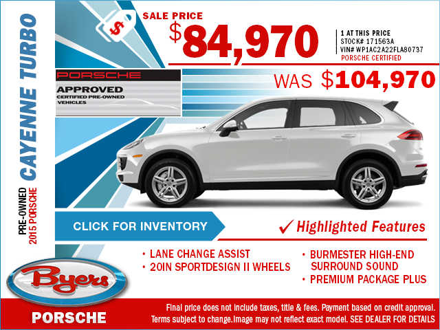 2015 Certified Pre-Owned Porsche Cayenne Turbo Purchase Special in Columbus, OH