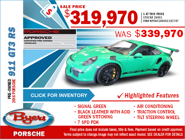 2016 Certified Porsche 911 GT3 RS Purchase Special in Columbus, OH