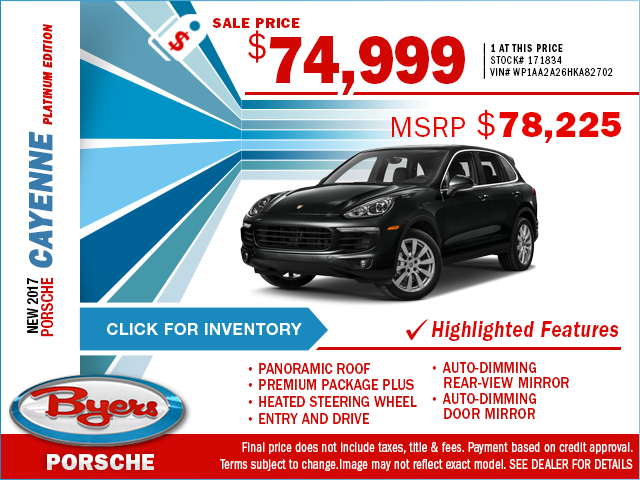 2017 Porsche Cayenne Platinum edition Purchase Special in Columbus, OH