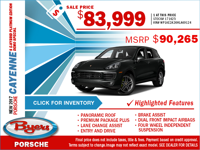 Save on a luxurious 2017 Cayenne S E-Hybrid Platinum Edition Demo with this special purchase offer at Byers Porsche in Hamilton, OH