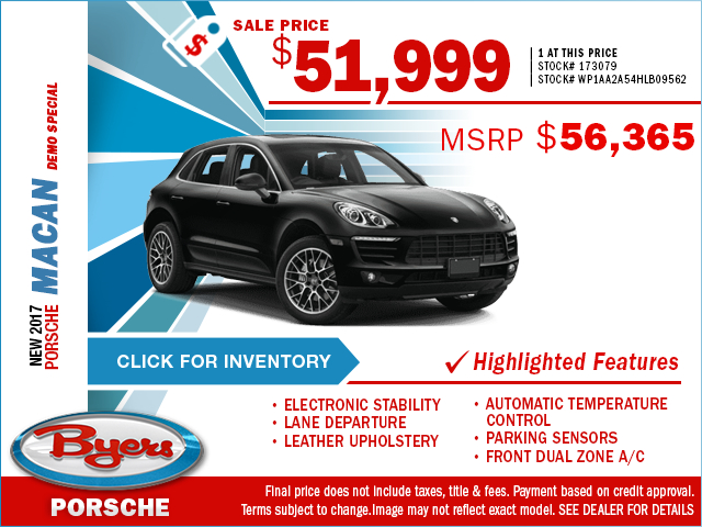 Save on a new 2017 Porsche Macan with this special purchase offer at Byers Porsche, serving Columbus, OH
