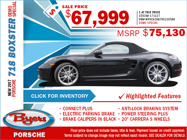 Save on a luxurious new 2017 Porsche 718 Boxster Demo Special with this special purchase offer at Byers Porsche serving Hamilton, OH