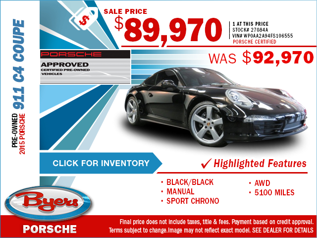 Right now is a good time to save on a luxurious pre-owned 2015 Porsche 911 C4 Coupe with this special purchase offer at Byers Porsche. Click to view in inventory.