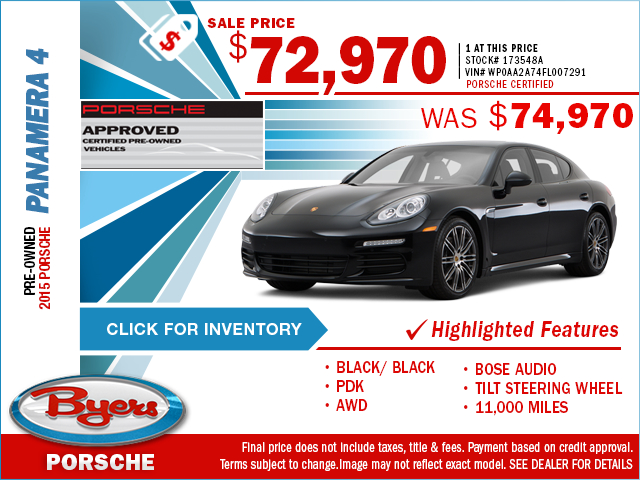 Buy a pre-owned 2015 Porsche Panamera 4 and save with this special purchase offer at Byers Porsche in Columbus, OH. Click to view in inventory.