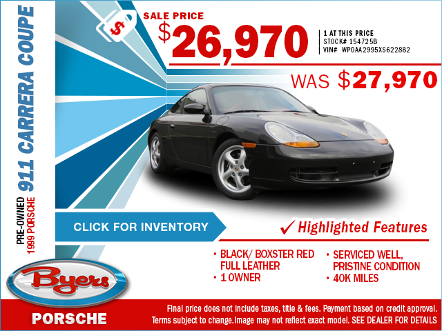 Get quality and luxury for less when you take advantage of this special purchase offer on a classic pre-owned 1999 Porsche 911 Carrera Coupe at Byers Porsche, serving New Albany, OH. Click to view in inventory.