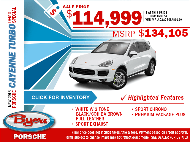 2016 Cayenne Turbo Demo Sales Special in Columbus, OH