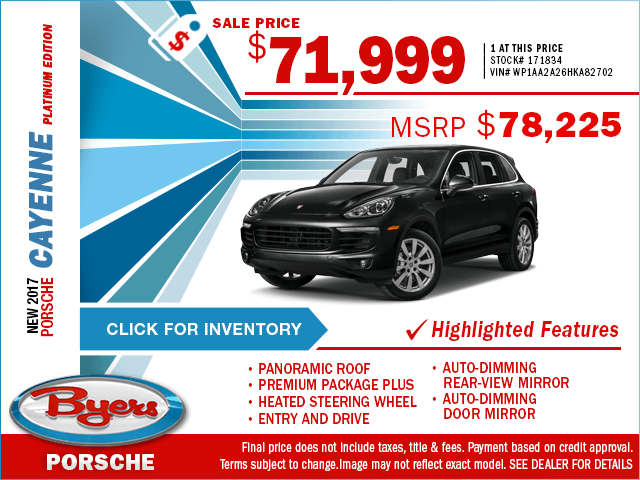 2017 Cayenne Platinum Edition Sales Special in Columbus, OH