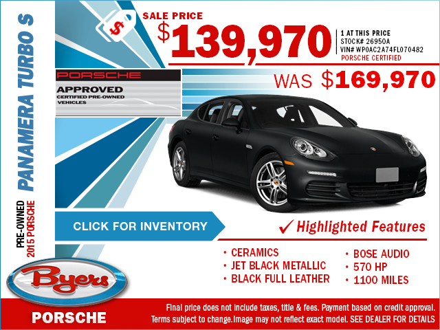 For a limited time, save on a luxurious pre-owned 2015 Porsche Panamera Turbo S at Byers Porsche with this special purchase offer. Click to view in inventory.