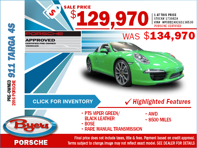 You can save on a luxurious pre-owned 2016 Porsche 911 Targa 4s when you take advantage of this special purchase offer at Byers Porsche in Columbus, OH. Click to view in inventory.