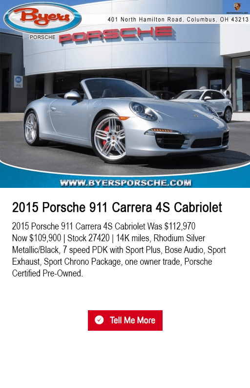 2015 Porsche 911 Carrera 4S Cabriolet pre-owned special at Byers Porsche in Columbus, OH