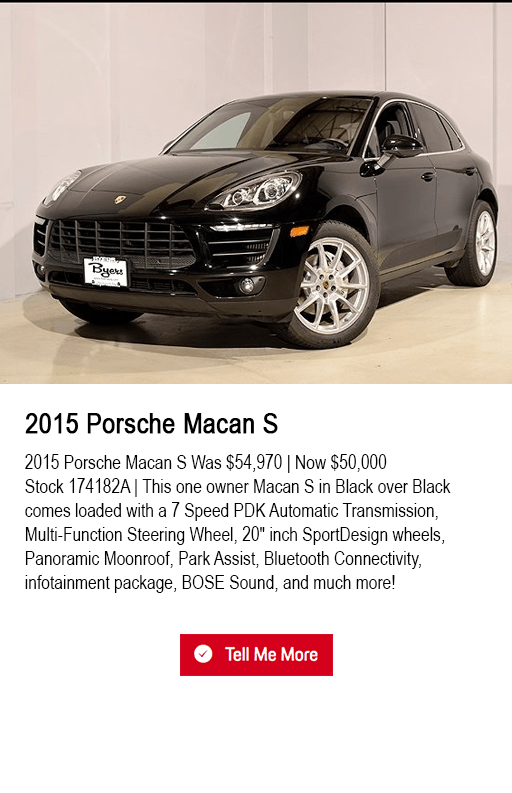 2015 Porsche Macan S pre-owned special at Byers Porsche in Columbus, OH