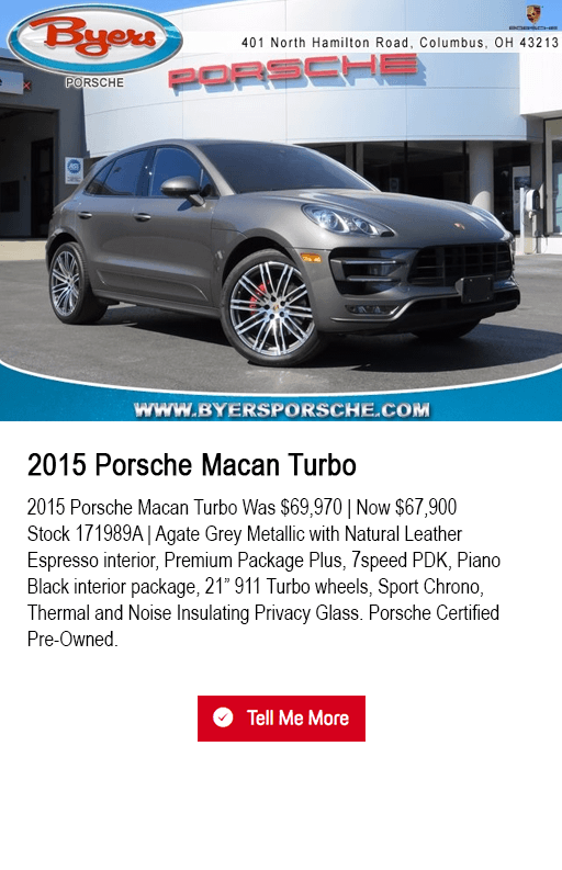 2015 Macan Turbo pre-owned special at Byers Porsche in Columbus, OH