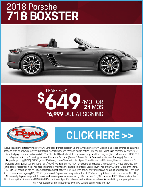 2018 718 Boxster Low Payment Lease Special at Byers Porsche in Columbus, OH