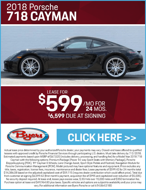Lease a 2018 718 Cayman for a Low Monthly Payment at Byers Porsche in Columbus, OH