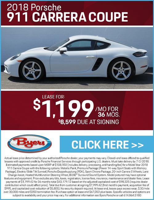 2018 Porsche 911 Carrera Coupe Low Payment Lease Special in Columbus, OH