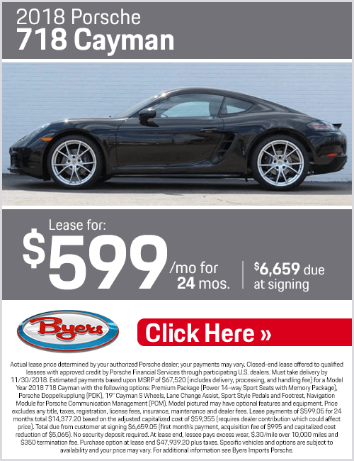 2018 Porsche 718 Cayman Low Payment Lease Special in Columbus, OH