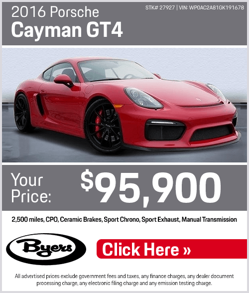 2016 Porsche Cayman GT4 Pre-Owned Special in Columbus, OH