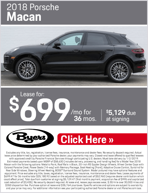 Lease a 2018 Macan for a Low Monthly Price at Byers Porsche in Columbus, OH