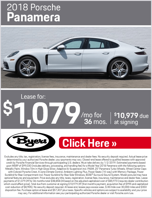 Lease a 2018 Panamera for a Special Price at Byers Porsche in Columbus, OH