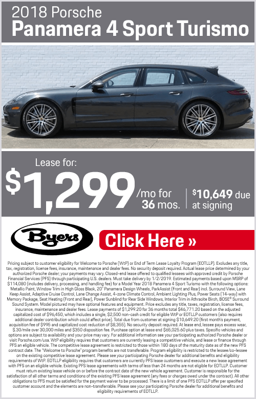 2018 Panamera 4 Sport Turismo Lease Special at Byers Porsche in Columbus, OH
