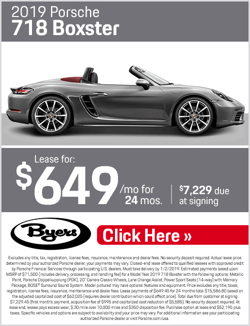 2019 718 Boxster Low Payment Lease Special at Byers Porsche in Columbus, OH