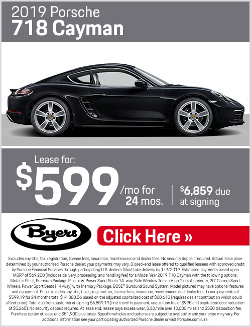 2019 718 Cayman Lease Special at Byers Porsche in Columbus, OH