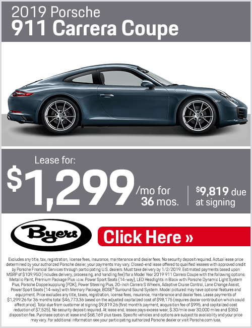 2019 911 Carrera Coupe Lease Special at Byers Porsche in Columbus, OH